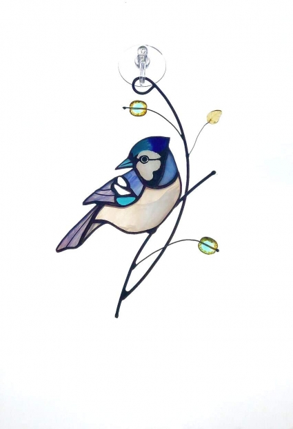 Blue Jay Stained Glass Bird Suncatcher