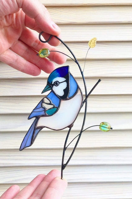 Blue Jay Stained Glass Bird Suncatcher - symbol of the change of sorrow to hope