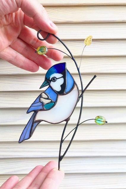 Blue Jay Stained Glass Bird Suncatcher