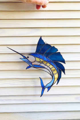 Marlin Fish Stained Glass Suncatcher