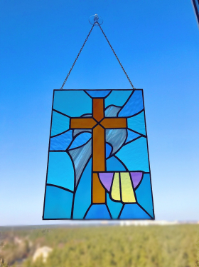 Stained glass panel with holy cross