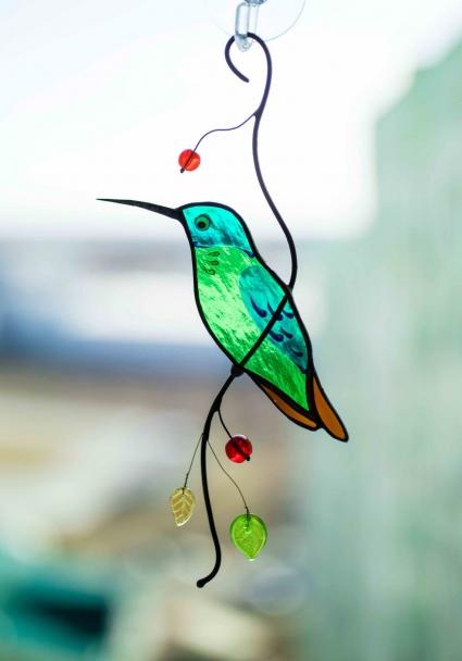 Hummingbird Stained Glass Bird Suncatcher