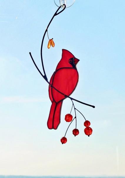 Red Cardinal Stained Glass Bird Suncatcher