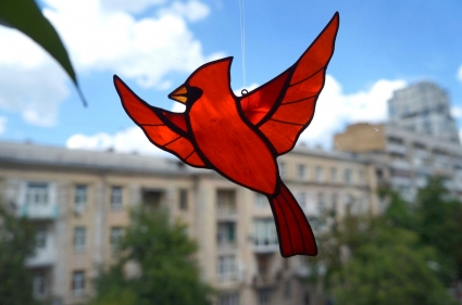 Red Cardinal Memorial Gift - Unique HandMade Suncatcher