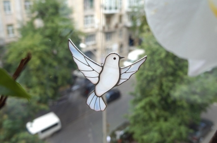 Dove Stained Glass Bird Suncatcher