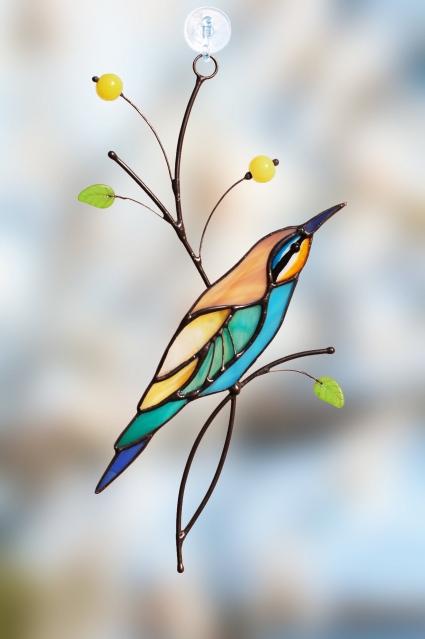 Golden bee-eater Stained Glass Bird Suncatcher