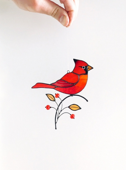 Male Red Cardinal Stained Glass Bird Suncatcher