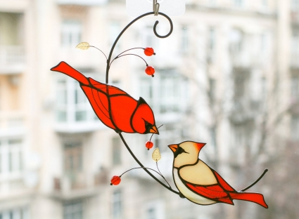 Red Cardinal Couple HandMade Suncatcher - Honor the memory of loved ones