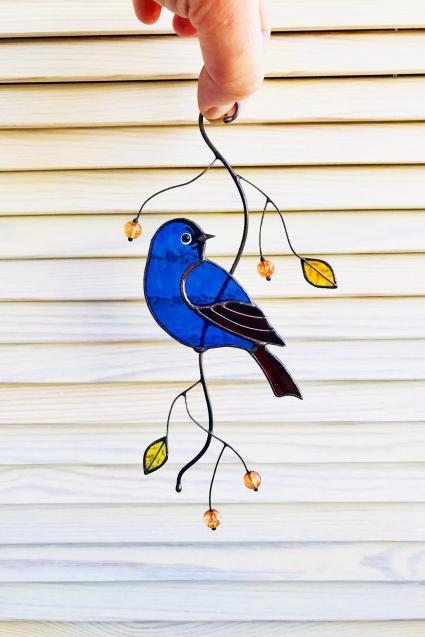 Blue Bird Stained Glass Bird Suncatcher