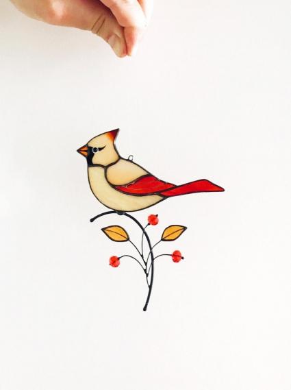 Female Red Cardinal Stained Glass Bird Suncatcher