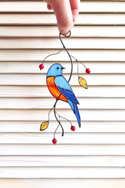 Blue Sialia Stained Glass Bird Suncatcher