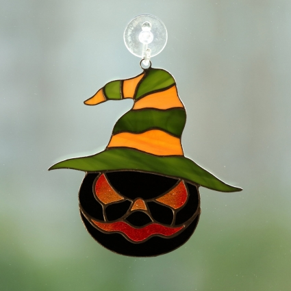 Halloween angry pumpkin stained glass sun-catcher window modern decor