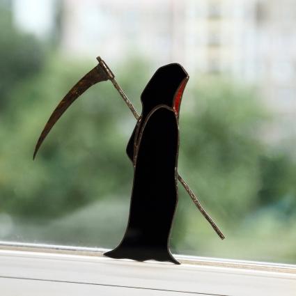 Grim Reaper stained glass sun-catcher window modern decor