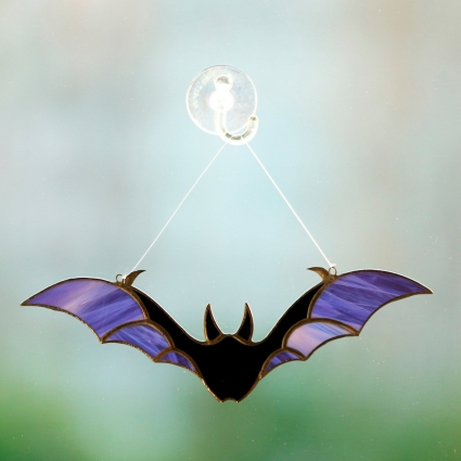 Halloween Bat stained glass sun-catcher modern home decor - Purple