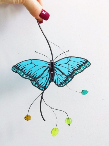 Peleides Blue Morpho Butterfly Stained Glass Suncatcher