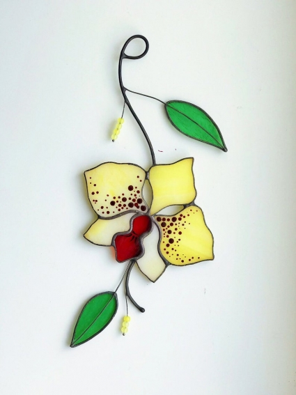 Orchid Flower Stained Glass Suncatcher - gift that will symbolize devotion to loved ones