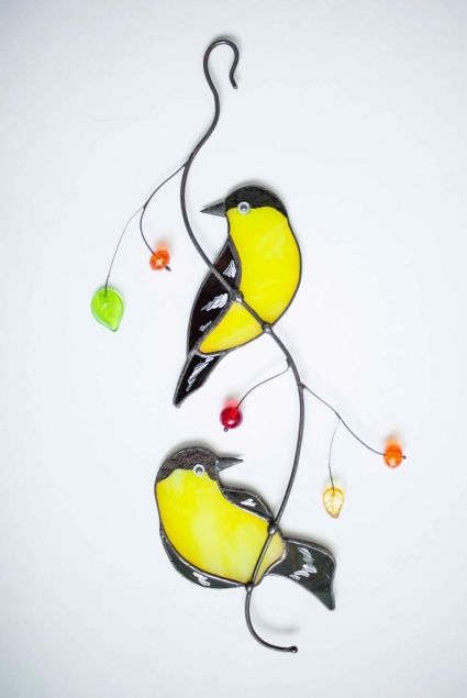 Two Chickadees Stained Glass Bird Suncatcher