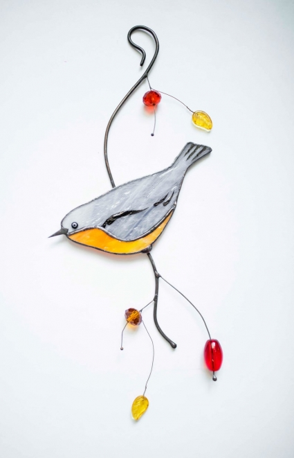 Nuthatch Bird Stained Glass Bird Suncatcher