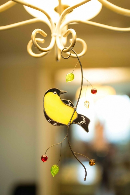 Chickadee Stained Glass Bird Suncatcher