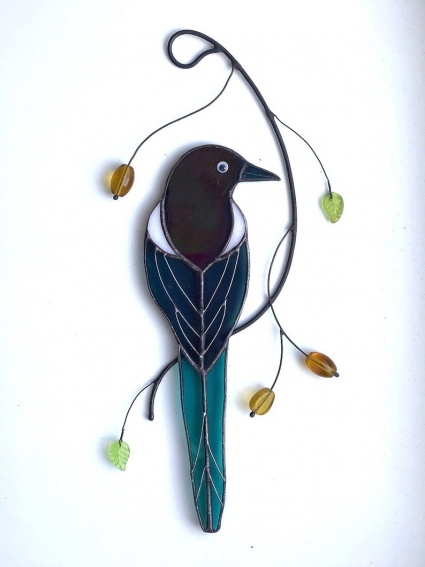 Magpie Stained Glass Bird Suncatcher