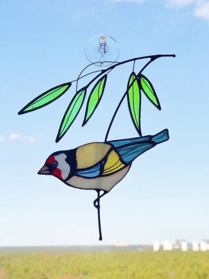 Goldfinch Stained Glass Bird Suncatcher