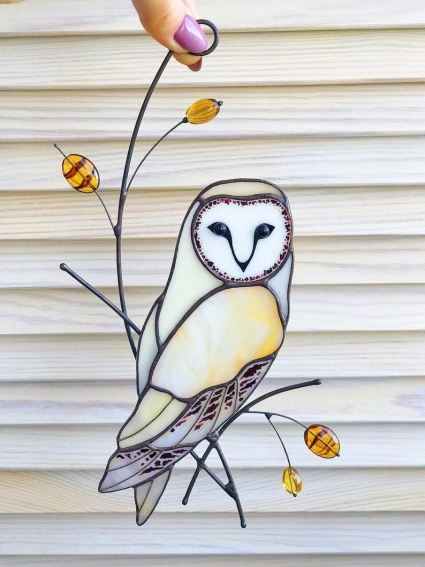 Owl Stained Glass Bird Suncatcher