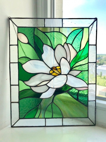 Lotus  Flower Stained Glass HandMade Panel - gift that will symbolize the warmest feelings