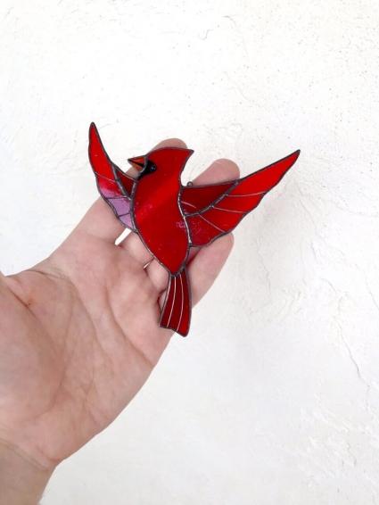 Red Cardinal Memorial Gift - Unique HandMade Suncatcher