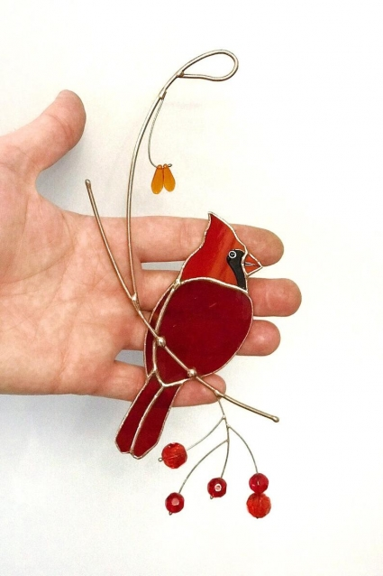 Red Cardinal Stained Glass Bird Suncatcher - gift that will preserve the memory
