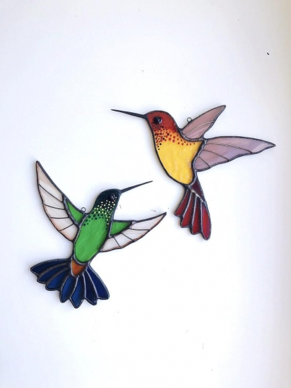 Set of Two Hummingbird Stained Glass Bird Suncatcher
