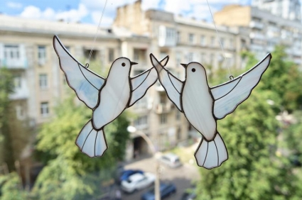 Dove Couple Stained Glass Bird Suncatcher