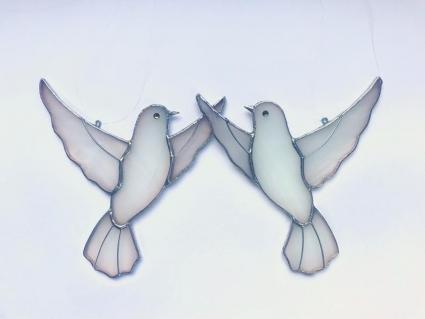 Dove Couple Stained Glass Bird Suncatcher