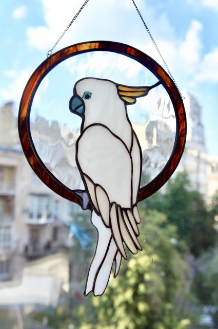 Cockatoo Parrot Stained Glass Bird Suncatcher