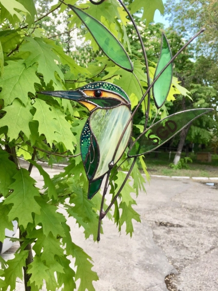 Kingfisher Stained Glass Bird Suncatcher - the image of those who flew to a better world