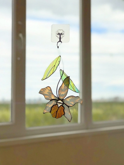 Orchid Flower Stained Glass Suncatcher - gift that will symbolize the warmest feelings