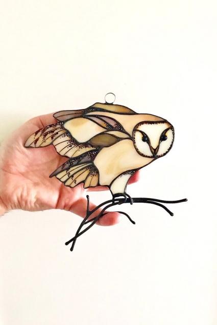 Owl Stained Glass Bird Suncatcher