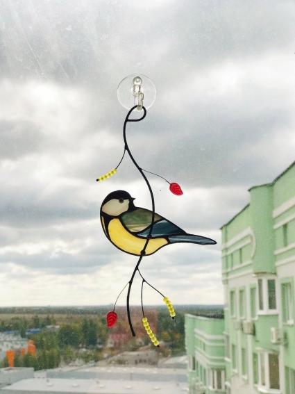 Chickadee Blue Jay Stained Glass Bird Suncatcher