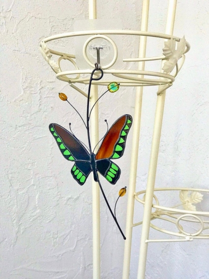 Tropical Butterfly Stained Glass Suncatcher
