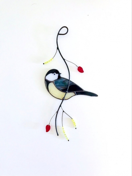 Chickadee Blue Jay Stained Glass Bird Suncatcher