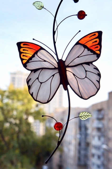 White Butterfly Stained Glass Suncatcher