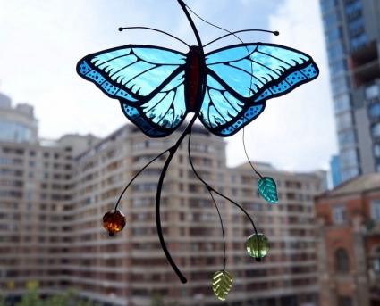 Peleides Blue Morpho Butterfly Stained Glass Suncatcher