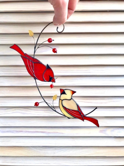 Red Cardinal Couple HandMade Suncatcher - Honor the memory of loved ones