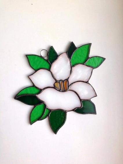Lotus Flower Stained Glass Suncatcher