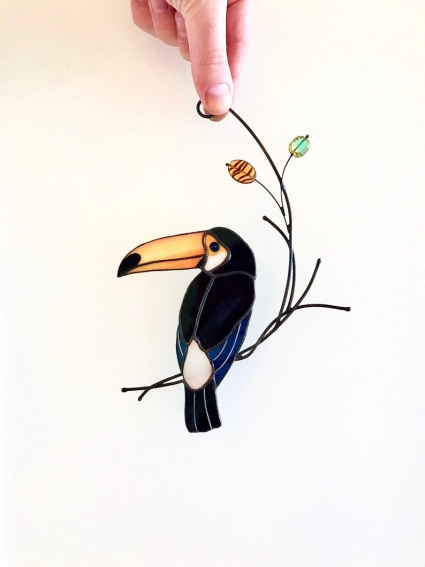 Toucan Stained Glass Bird Suncatcher