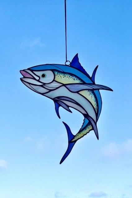Tuna Fish Stained Glass Suncatcher