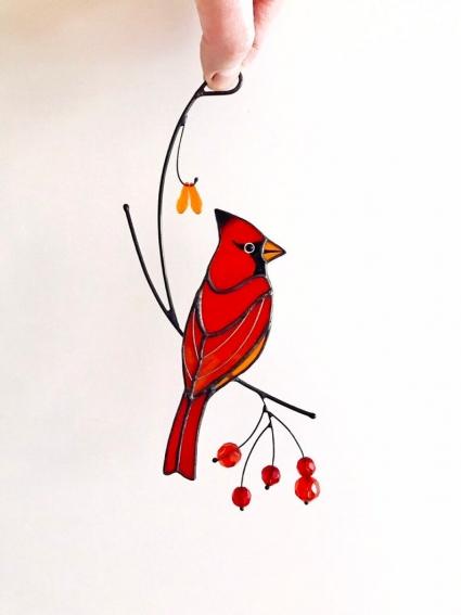Red Cardinal Unique HandMade Stained Glass Bird Suncatcher