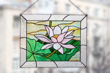 Lotus Flower Stained Glass Panel