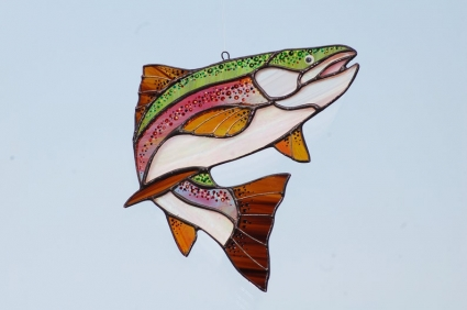 Trout Fish Stained Glass Suncatcher