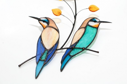 Pair of Golden bee-eaters  Stained Glass Bird Suncatcher
