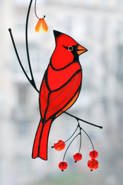 Red Cardinal Unique HandMade Stained Glass Bird Suncatcher